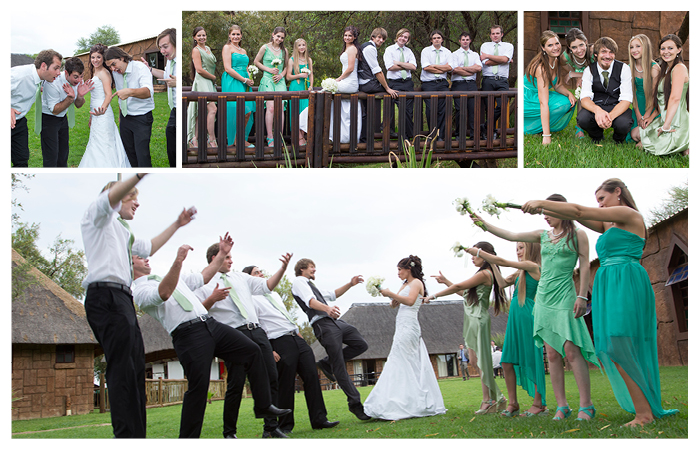 bridesmaids and groomsmen at sediba kwele