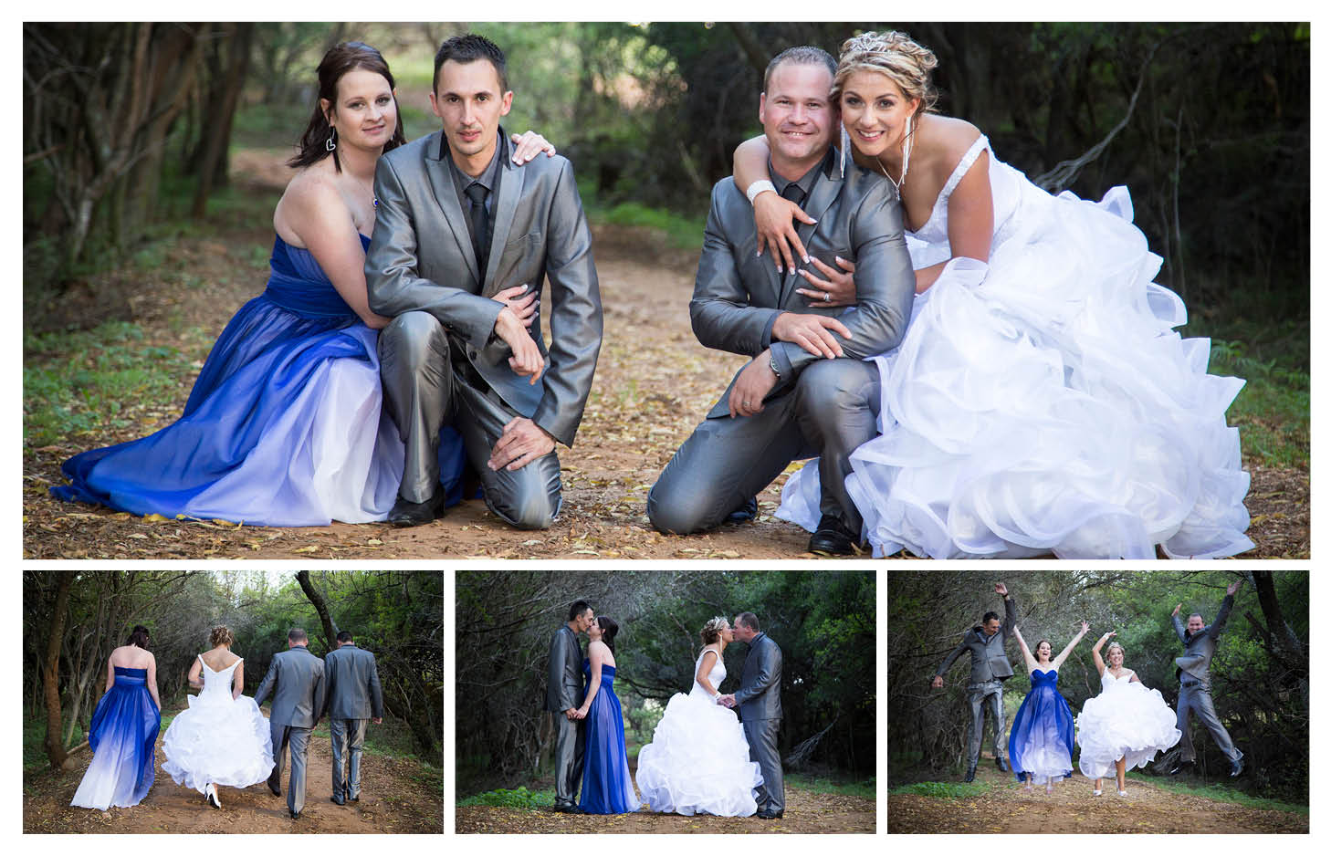 groom bride with bridesmaid and groomsmen in-front of a tree tunnel