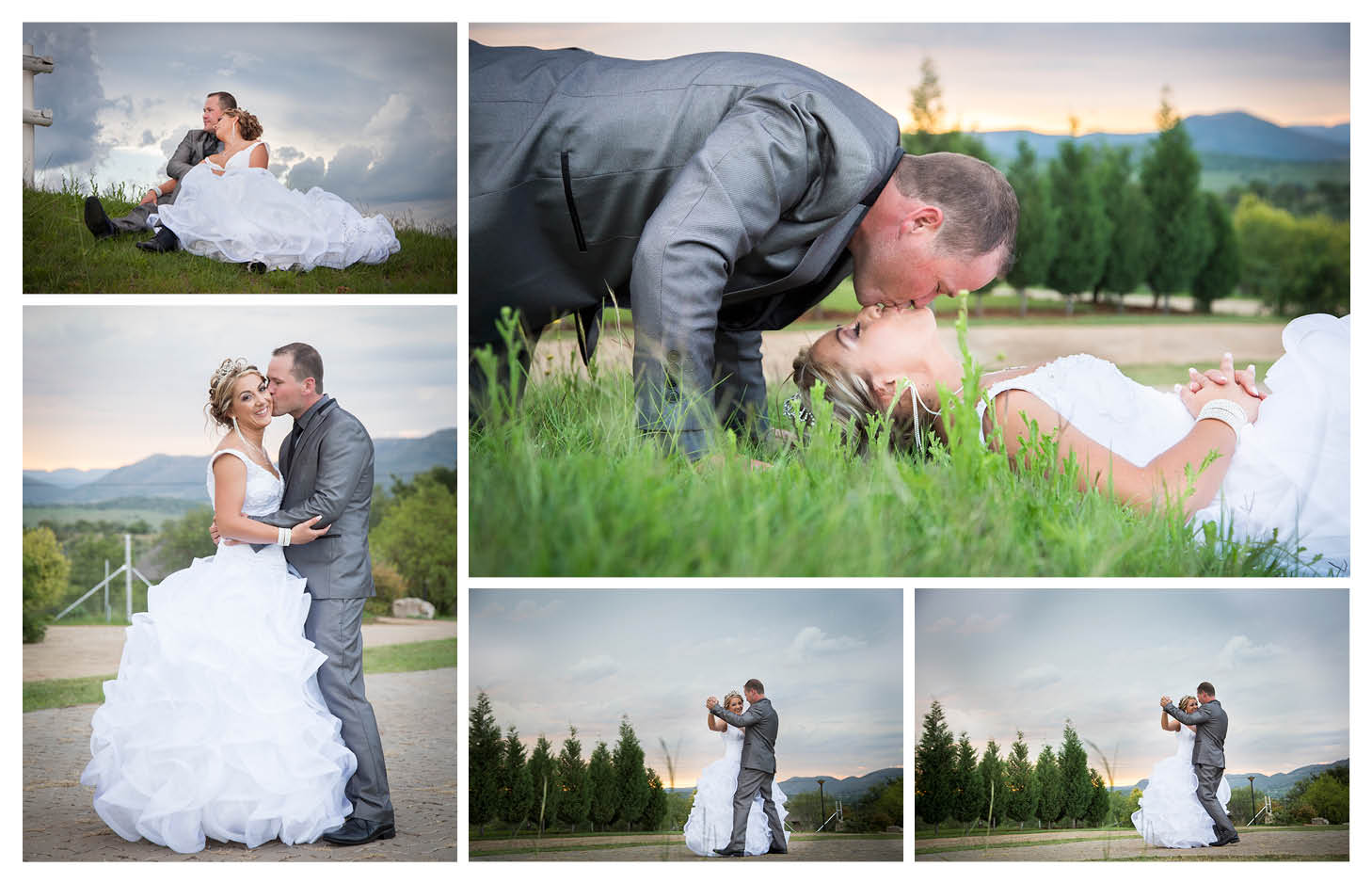 bride and groom photography with sunset,magalies mountain range and trees in background at La WiiDA Lodge