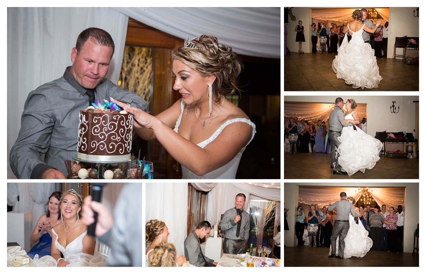 bride and groom cutting the cake and first dance