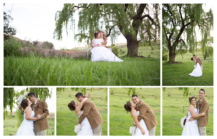bride and groom wedding photography in grasslands with big tree at Linwood Farm, Clarens