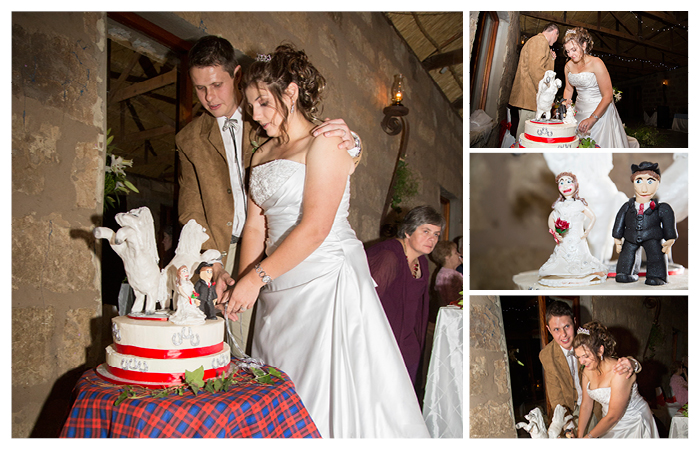 bride and groom cutting the cake at Linwood Farm, Clarens