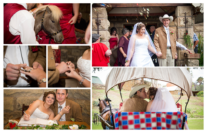 western wedding ceremony at Linwood Farm, Clarens