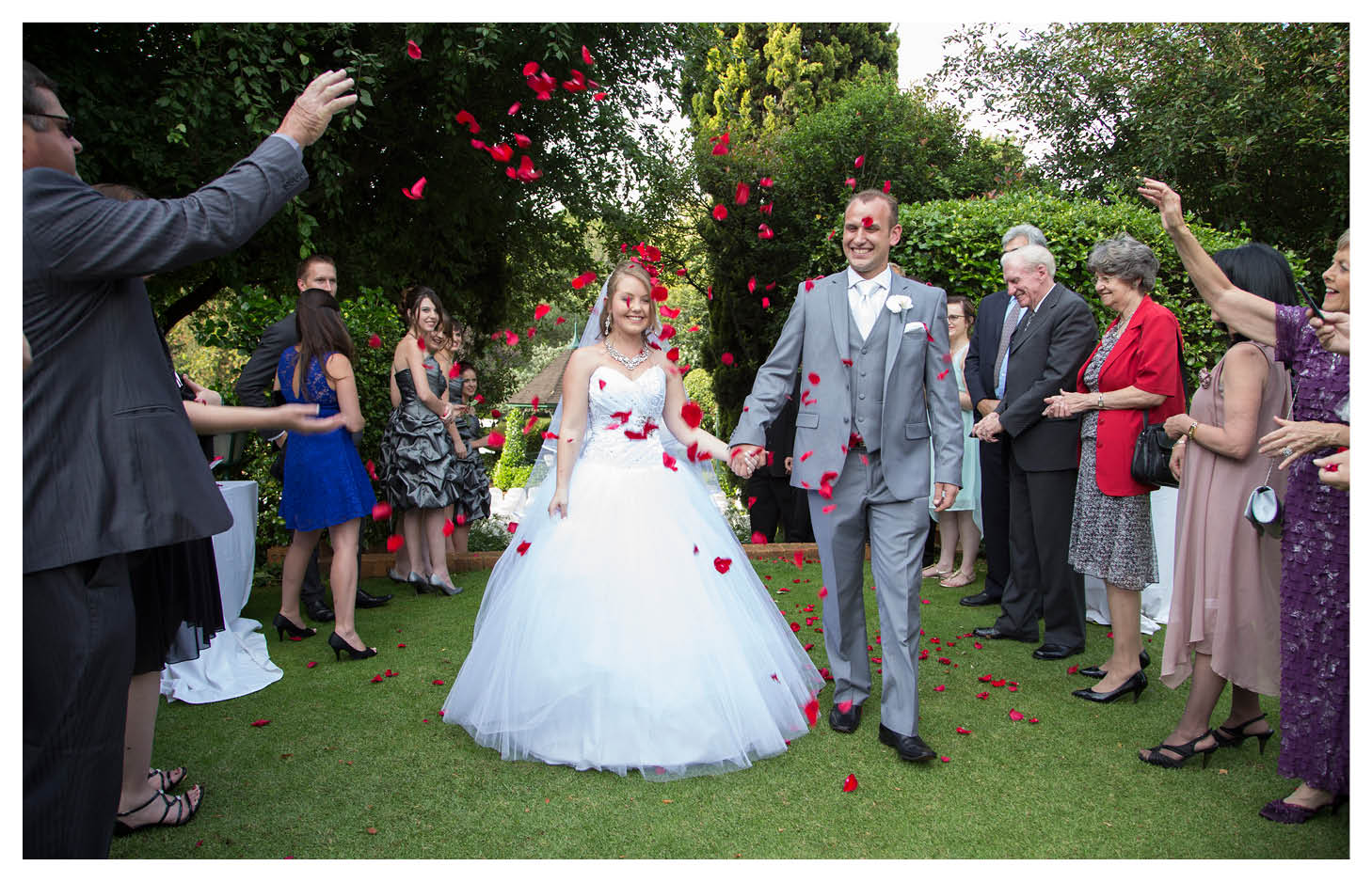 red rose leaf confetti with bride and groom