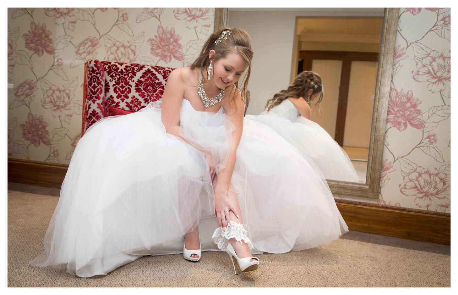 bride next to mirror with high school