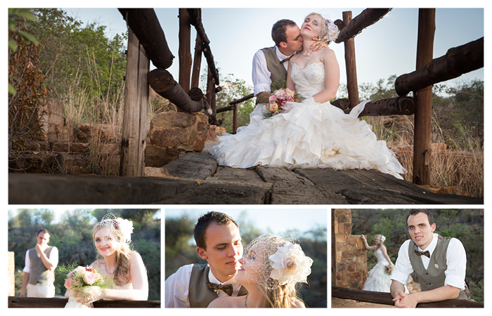 rustic vintage groom kissing bride in neck on old wood bridge at makinky manzi