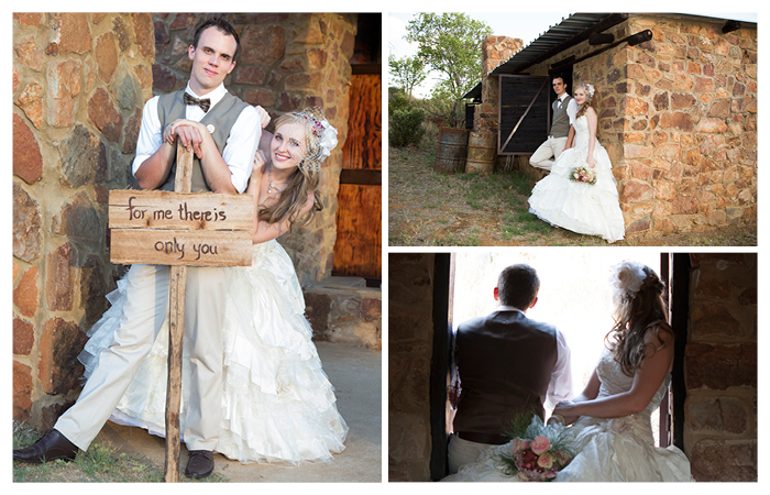 bride and groom holding a boar with saying