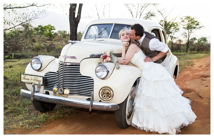old vintage car with vintage theme bride and groom the bush at makinky manzi