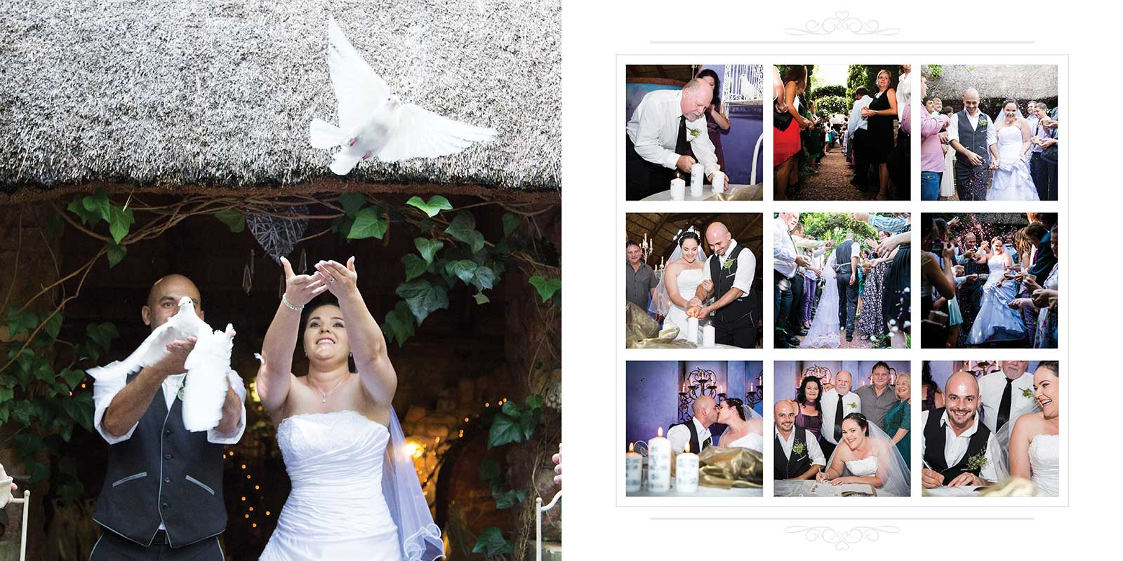 Doves set free on wedding date