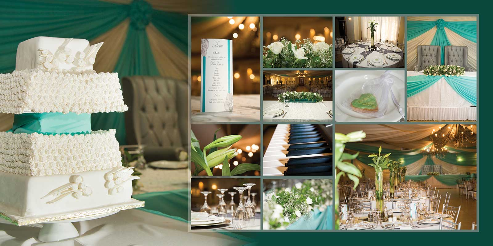 blue green wedding detail