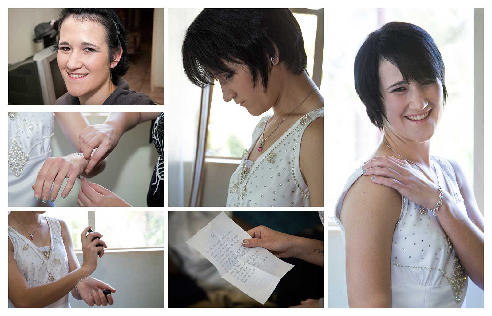 Bride getting ready for wedding ceremony