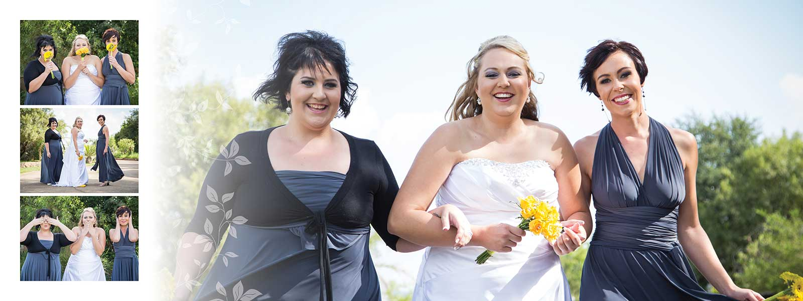 Bride and Bridesmaids - Blue and Yellow